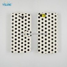 Cute slim black polka dots case pu skin stand cover for iphone 5c