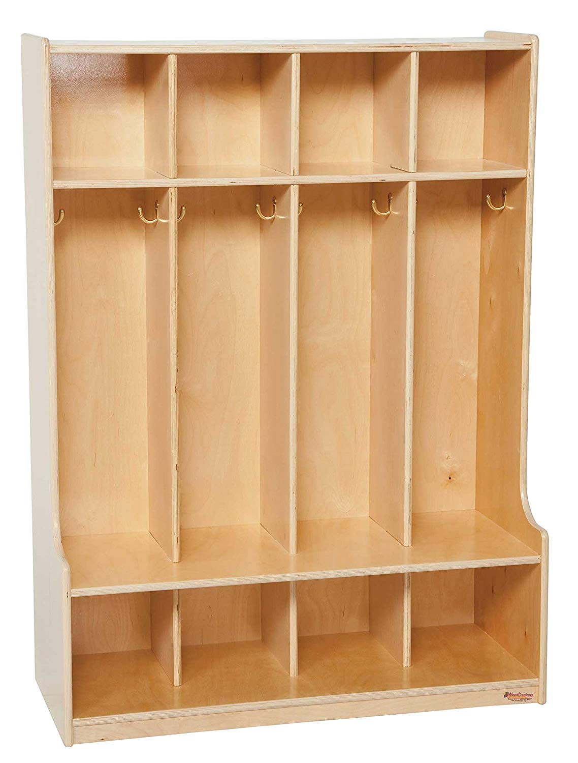 "Wood Designs 51004 4 Section Seat Locker, 49"" Height, 18"" Width, 51.5"" Length"
