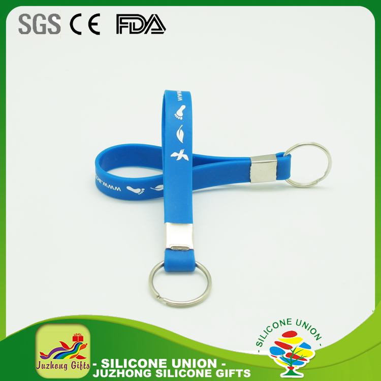 High Quality Wholesale Custom Silicone Key chains/silicone wristband keychain