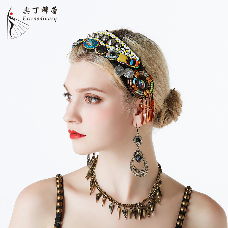 2019 Tribal Belly dance Coin Headpiece Women fashion Hair jewelry Tassel Gypsy <strong>Headband</strong>