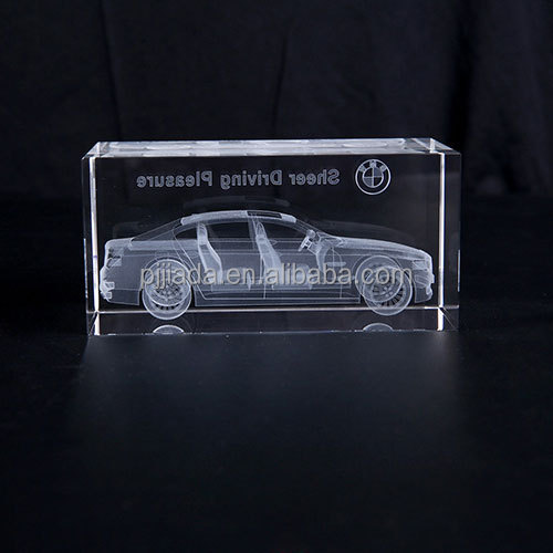 3D Laser Crystal Insiding Carving Car Cube Glass Crafts Home Decor Ornaments Christmas New Year Personalized Gifts