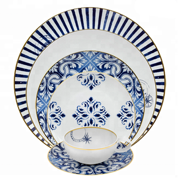 Wholesale dinnerware sets high bone china plates portugal design gold rim dinner sets