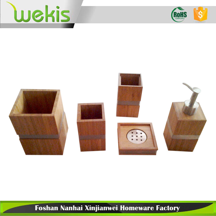 Bamboo Bath and Vanity Set 5 Pieces Bathroom Accessories Basic Household Products