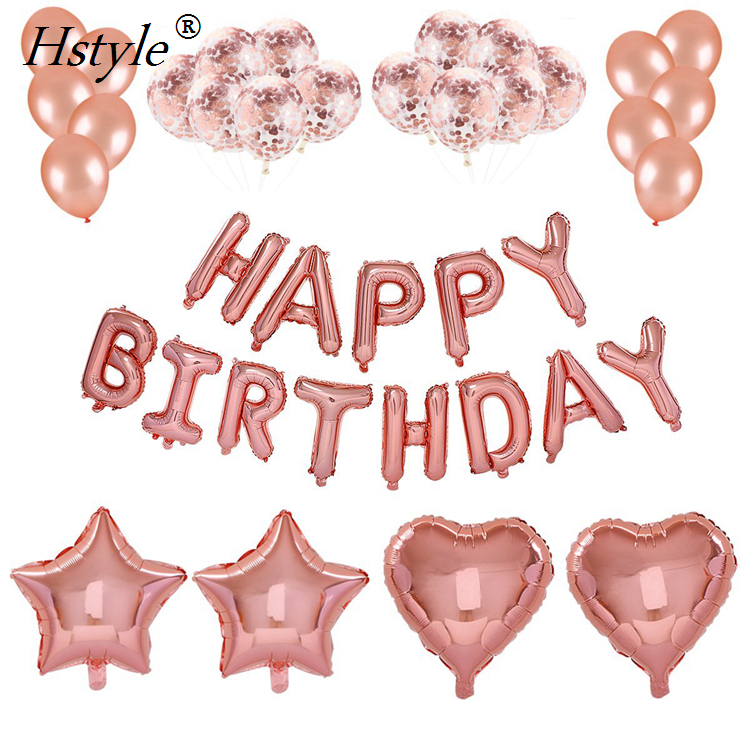 Rose Gold Happy Birthday Balloons Party Decorations Supplies-HAPPY BIRTHDAY Letters Balloons Banner Confetti Balloon SET126-B
