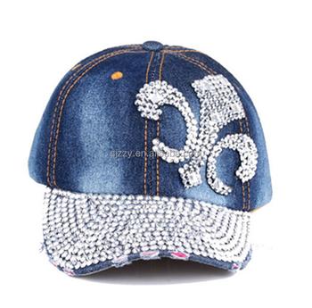 Pearl Rhinestones Heart Shape Blue Jean Hats Women Summer Baseball Caps 94c428a5afd