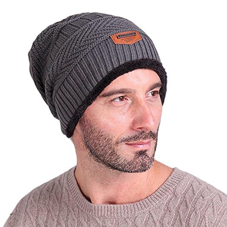 98999f1391e Get Quotations · Mens Winter Wool Knitting Hats Set Plain Skull Beanie Cuff  Toboggan Knit Cap Skii Hat winter
