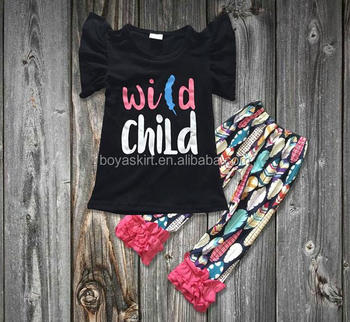 e338e58a3d4a1 2017 Wild Child Clothing Spring Girls Boutique Clothing Black Top With  Feather Pant Baby Girls Short Sleeve Outfits - Buy Girls Boutique Clothing  ...