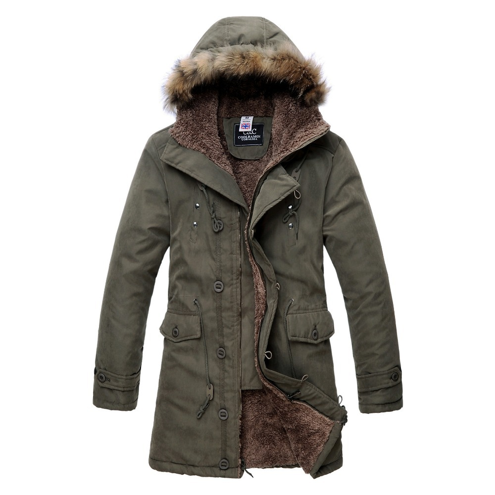 db16bf601c0d Get Quotations · 2015 Winter Mens Down Parkas Faux Fur Hooded Male Jackets  Coats Cotton padded Warm Thicker Fleece