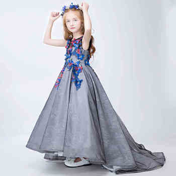 kids girl baby princess flower tailing party prom occasion evening wedding dress
