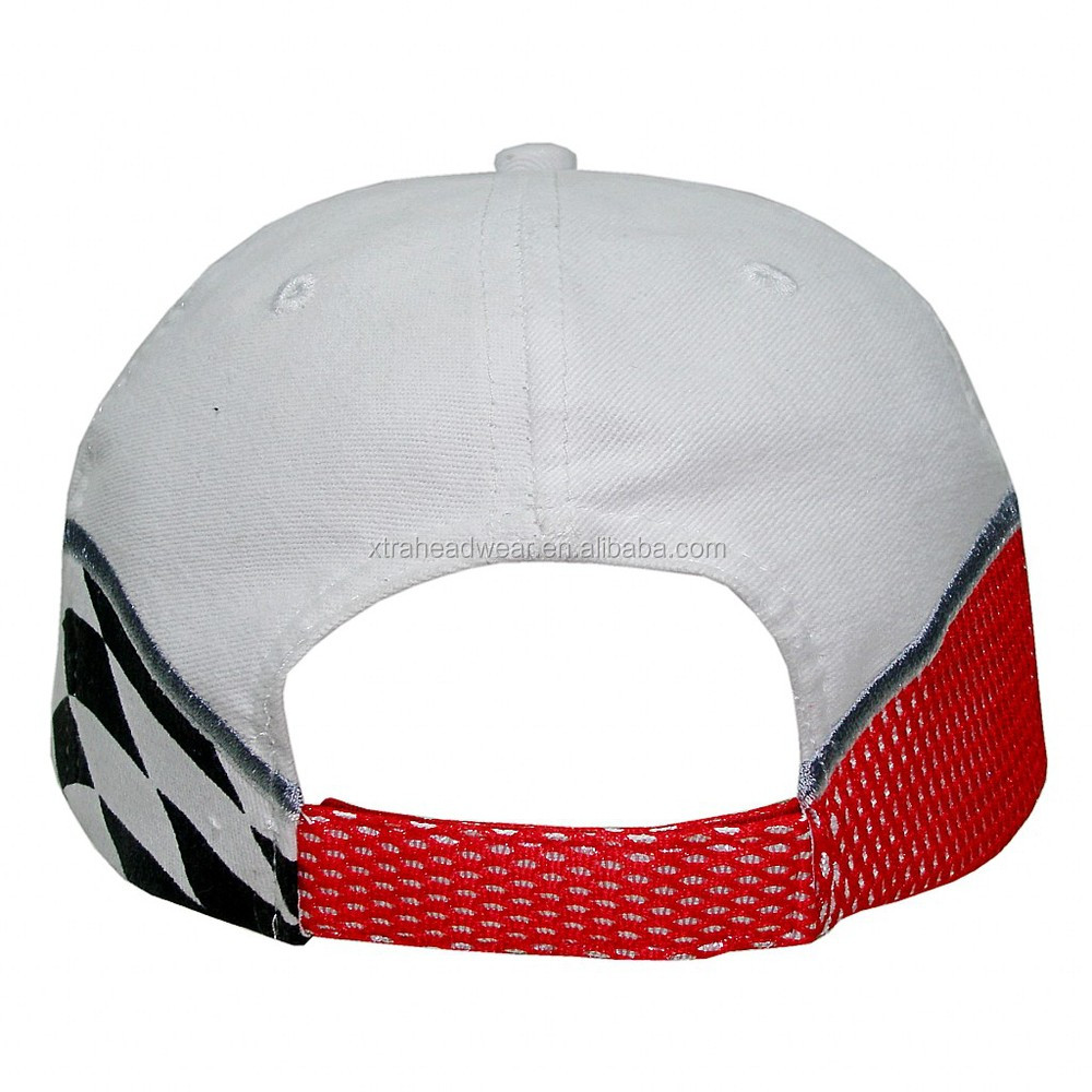 Color blanco bordado gorra de carreras complicado bordado Cap hecho en China