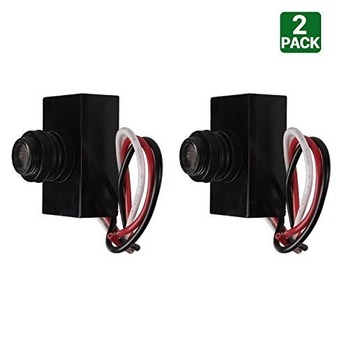 2 Pack Hykolity Outdoor Post Eye Light Photo Control Thermal Type Photo Control, Dusk-to-Dawn Light Sensor Switch