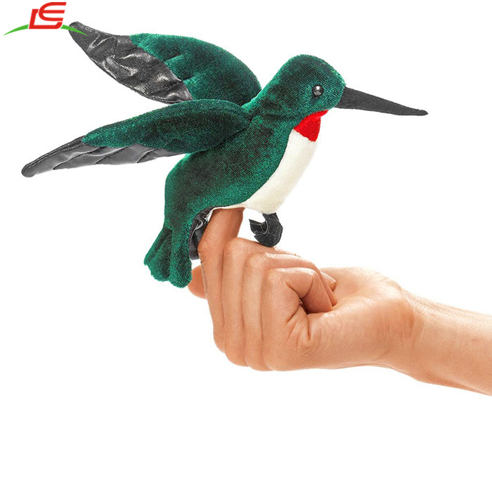 mini hummingbird kingfisher plush finger puppet