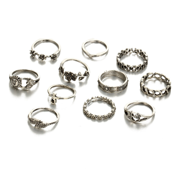 Bohemian Rings Set Gold Sun Moon Finger Ring Jewelry Gifts