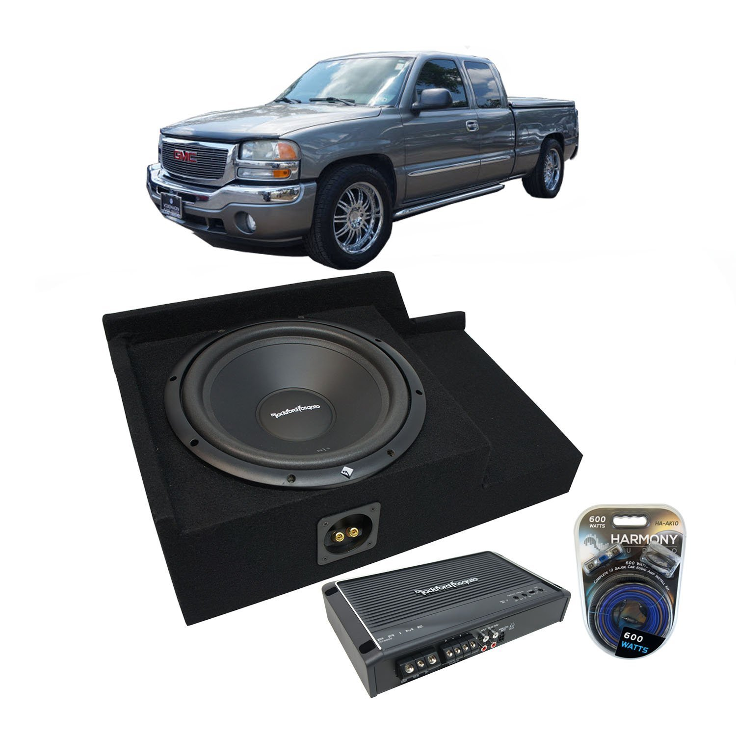 "1999-2006 GMC Sierra Ext Cab Truck Rockford Prime R1S412 Single 12"" Sub Box Enclosure & R150X2 Amp"