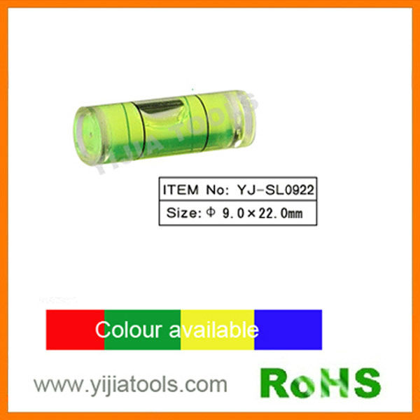 YJ-SL0922 china cylinder level bubble vial plastic spirit level vial
