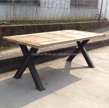 Rustic Wood Top X Metal Dining Table For Restaurant