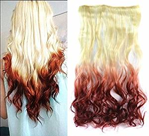 Buy White Blonde To Auburn Two Colors Ombre Hair Extension