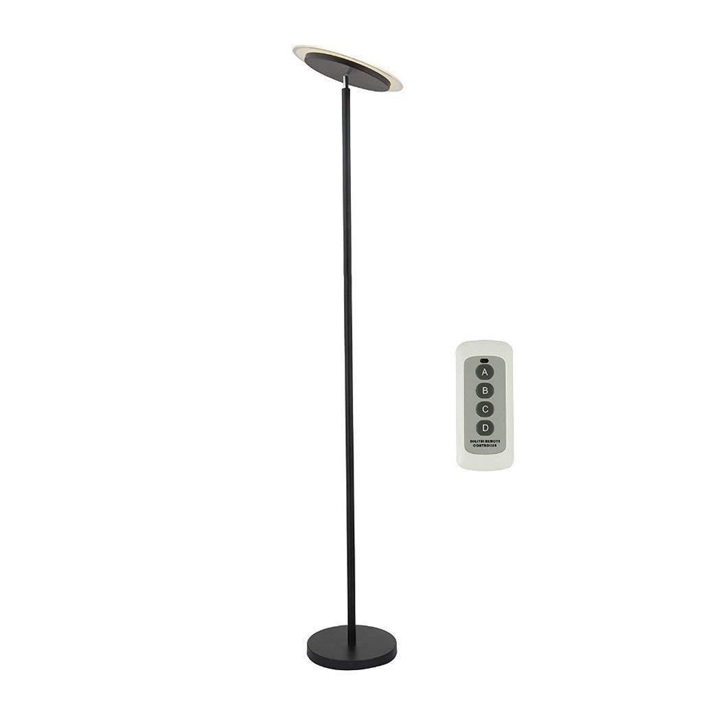 "LED Dimmable Floor Lamp Uplight, Remote Control, Single Stem, Height 70.92"", Black, Modern Style Bedroom Study Office Creative Single Rod Overhead Floor Light"
