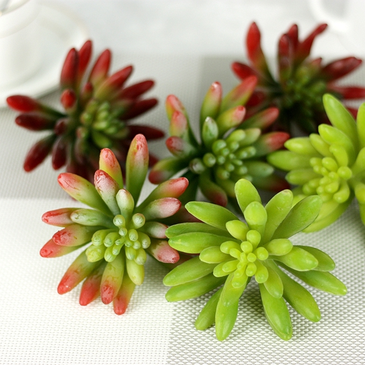 High quality Green/Red PVC Succulent Plastic Mini Plant Real Touch Flowering Plant For Garden DecorationMW17666
