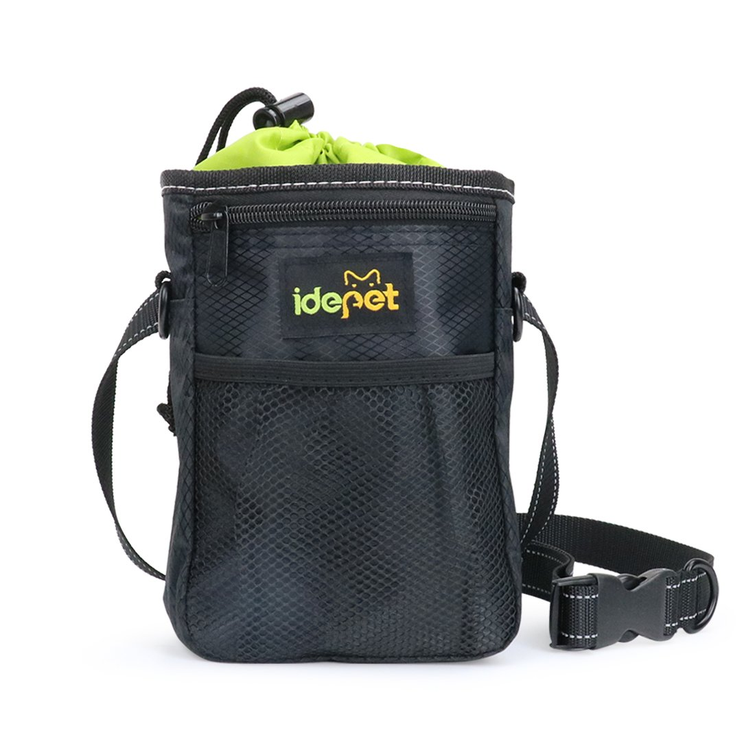 Idepet Dog Treat Pouch with Waste Bags Dispenser,Waterproof Pet Training Bag,Adjustable Dogs Pouch To Carry Dog Training Treats,Toys,Snack,Phones,Keys for Walking,Running and Training