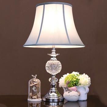 Polished Chrome Led Reading Light Blue Shade Crystal Table Lamp For Modern Bedroom