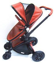 Factory Price High End Egg Shape PU Leather Luxury Baby Stroller 3 In 1 Travel Systems With EN1888 Certification