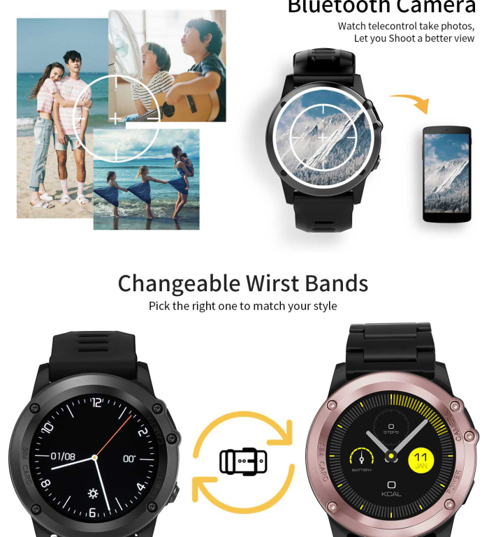 IP68 Waterproof 1.39 inch 400*400 3G WIFI GPS Camera H1 Smart Watch MTK6572 Heart Rate Monitor Smartwatch For Android IOS