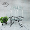 Set of 2 glass beverage dispenser with Iron frame and tap