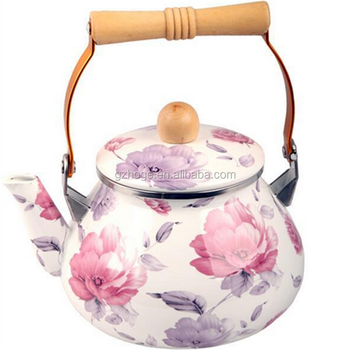 New Retro Custom Flower Printing Enamel Kettle/Old Enamel Teapot
