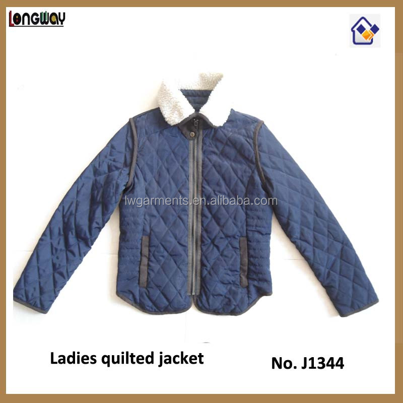 100% Polyester Diamond Quilted Woman Clothing, Sherpa collar Women's Clothing