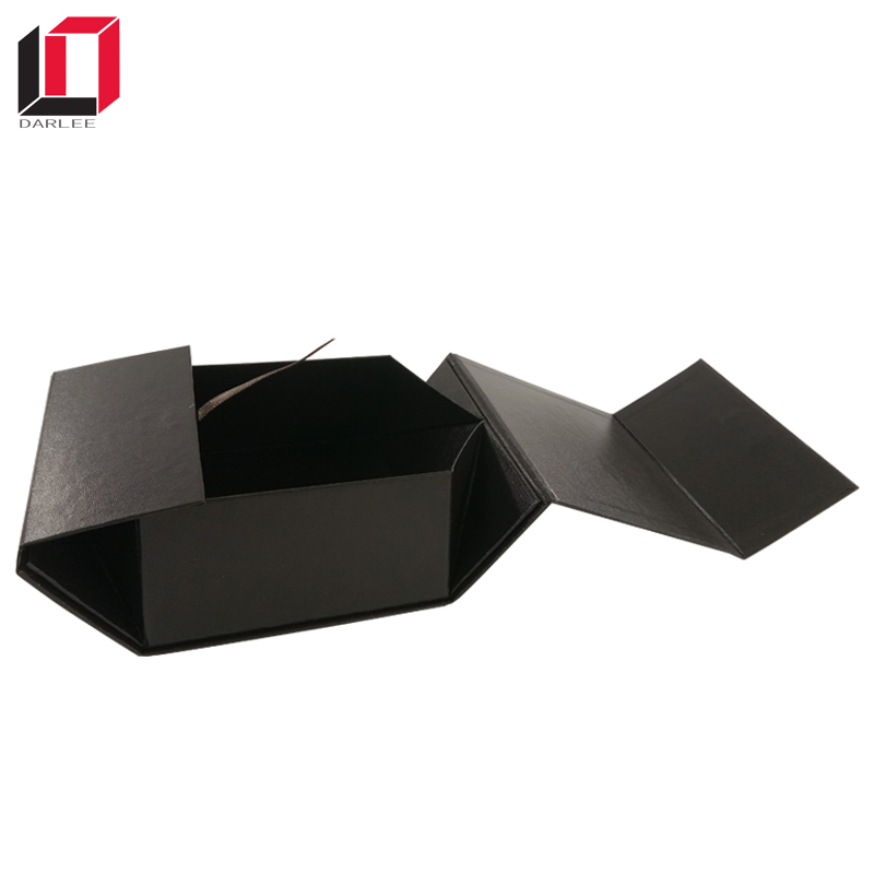 Black custom packaging foldable magnetic closure paper box for gift