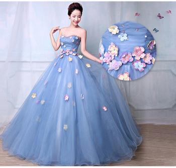Fleur Perlée Robe De Mariée De Couleur 2018 Nouveau Style Coréen Bleu Clair Robes De Mariée Princesse Buy Robes De Mariée Bleu Clair Grande