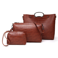 Taobao fashion design nice 3 in 1 set leather ladies handbag set