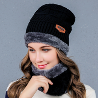 high quality unisex Knitted Wool winter collar hat set Multi Color beanie and scarf winter hats