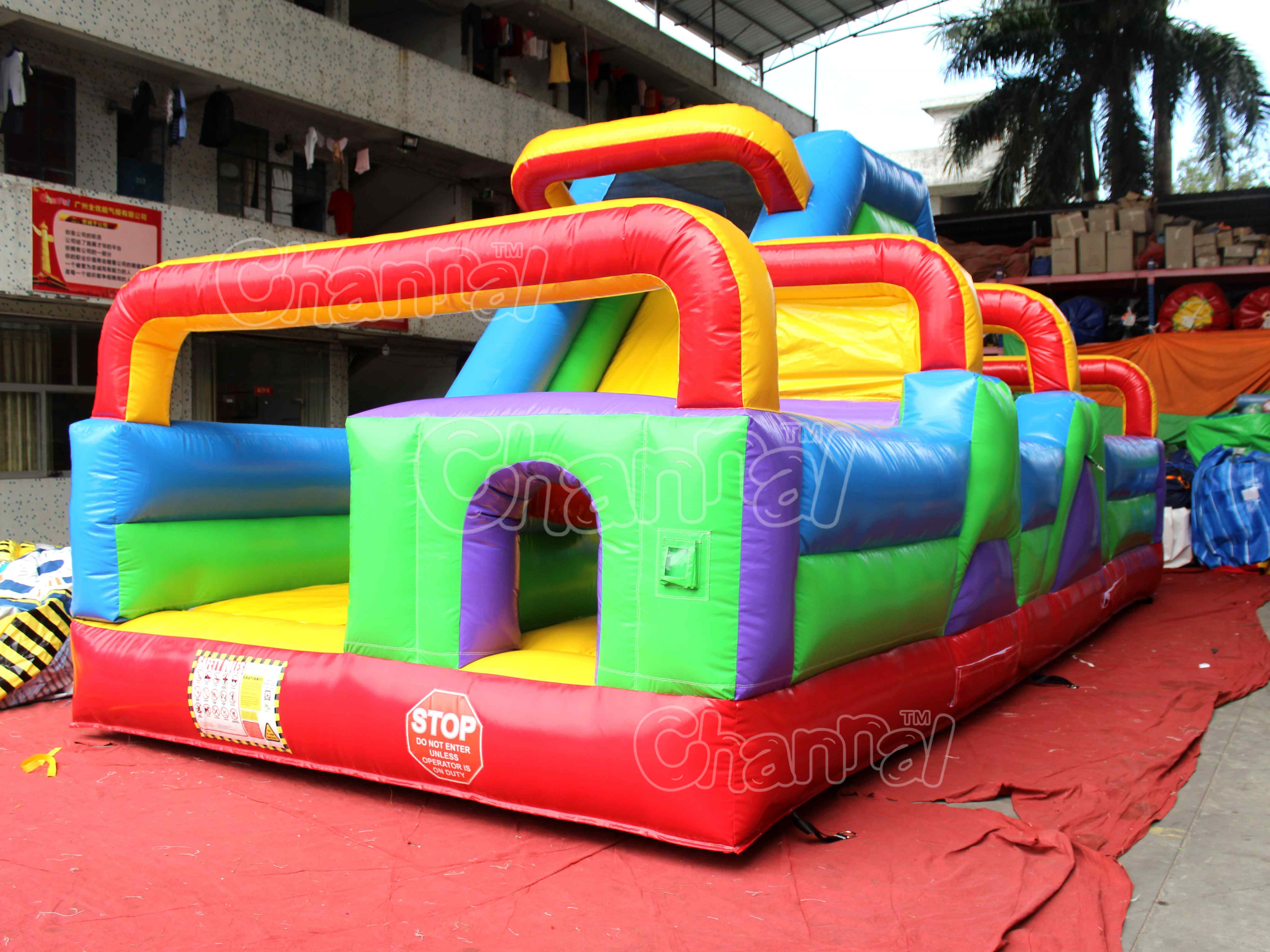 Cheap inflatable bouncer obstacle inflatable obstacle course with slide