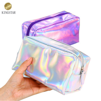 Shiny Silver Pvc Holographic Makeup Bag Cosmetic Bags Pouch Toiletry Storage Wash