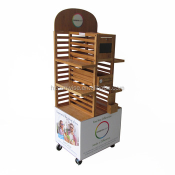 Retail sales floor standing bamboo baby product stand with wheels