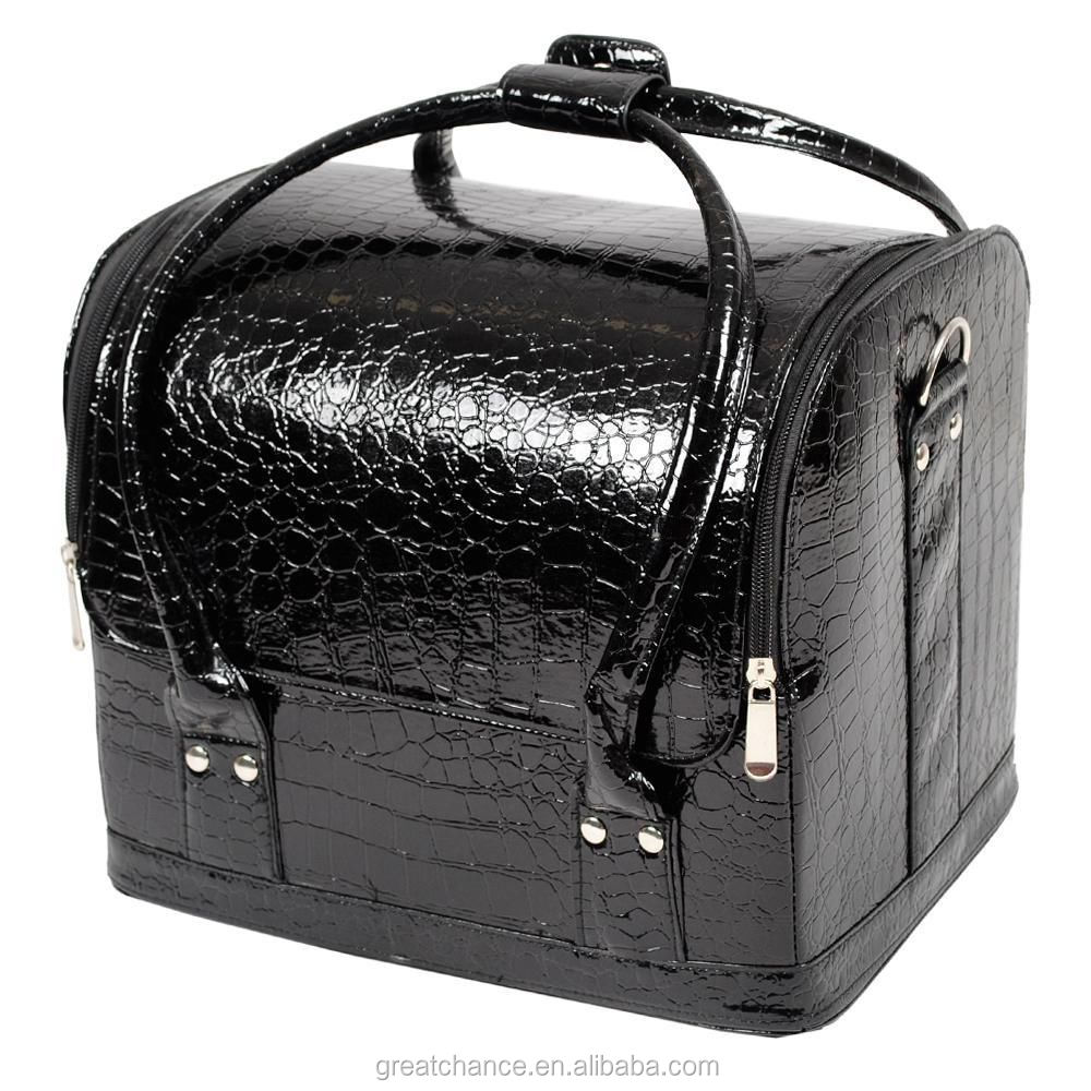 Large Faux Leather Beauty Cosmetic Makeup Vanity Case Nail Art Box ...