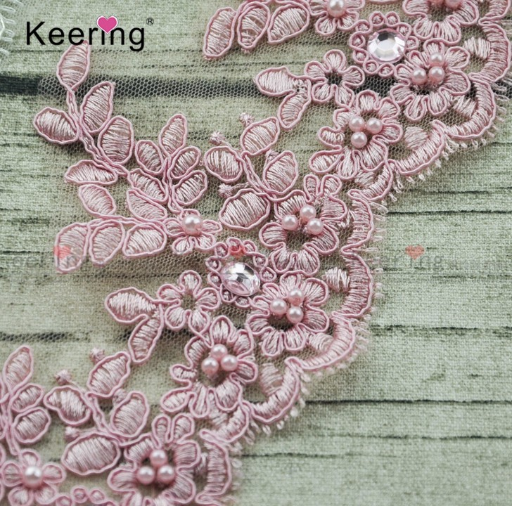 pink and white embroidery bridal cord lace WTPA-138