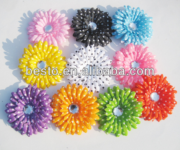 CF 0812 dotted decorative removable rhinestone craft silk gerbera daisy flower heads with clips added