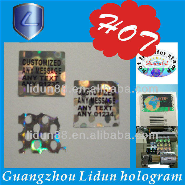 2014 China high quality 2d 3d security holographic label