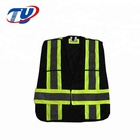 Mesh Construction Safety Vest Black With Pockets