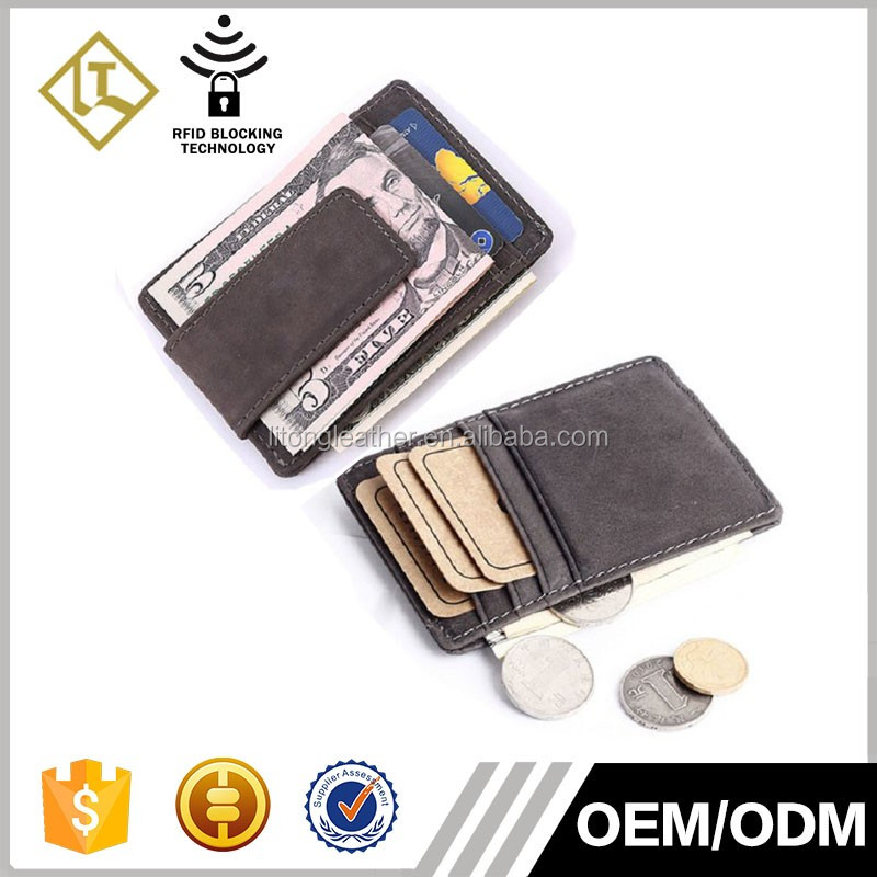 Good qulity genuine leather slim magnet money clip rfid credit card wallet