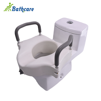 Deluxe Medical Elongated Raised Toilet Seat Riser With Padded Arms