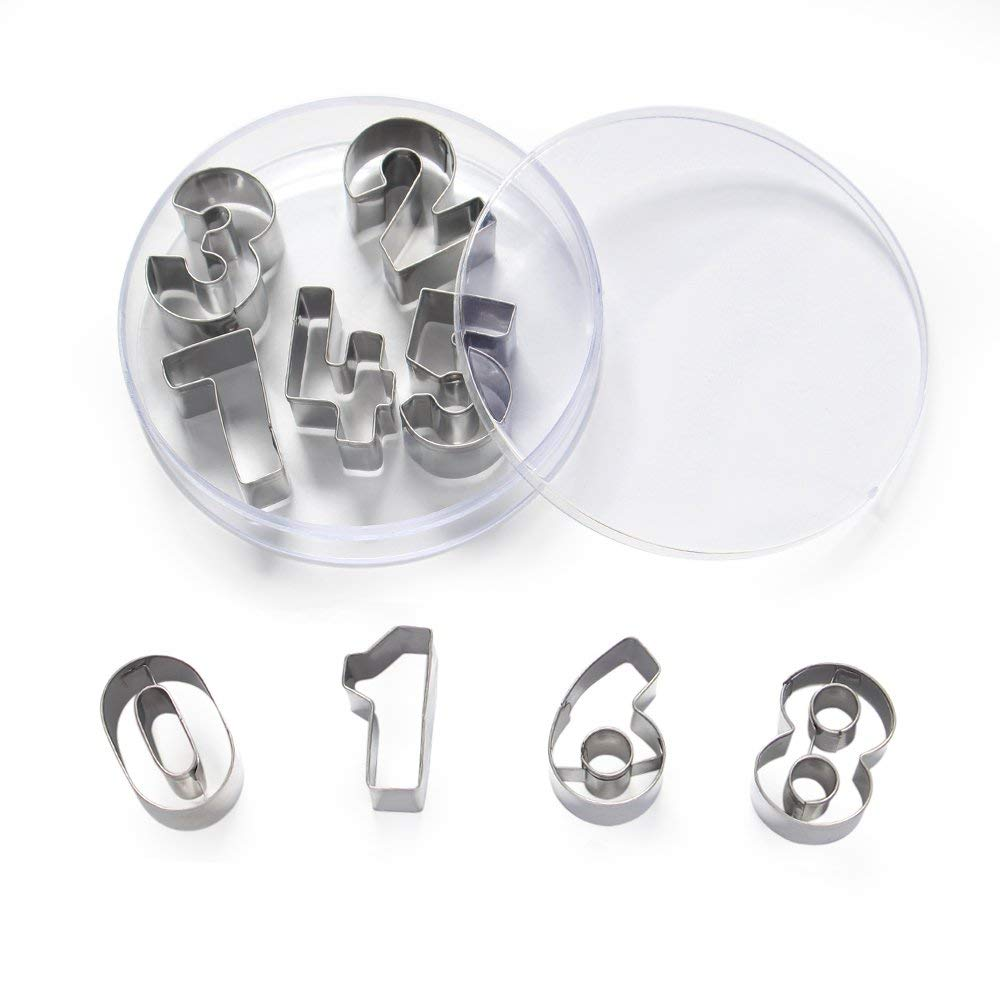"ShengHai Number Cookie Cutters –1.7"" Stainless Steel Cake Decorating Number Cutters with Cut-Outs, 9-Piece Set"