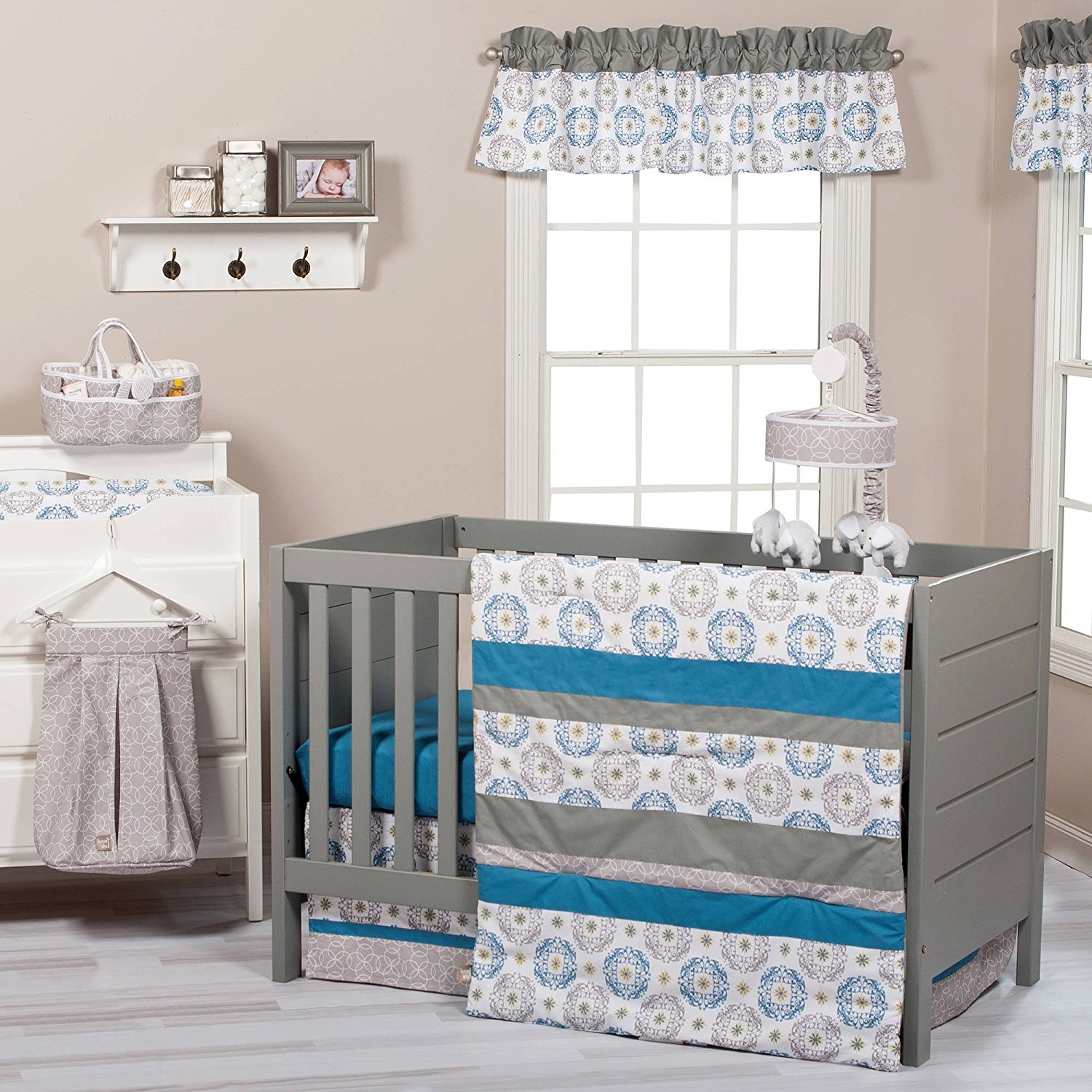 Cheap Infant Bed Set Find Deals On Line At Alibabacom Summer Double Rail Blue Get Quotations 3 Piece White Grey Medallion Baby Crib Bedding Newborn Nursery