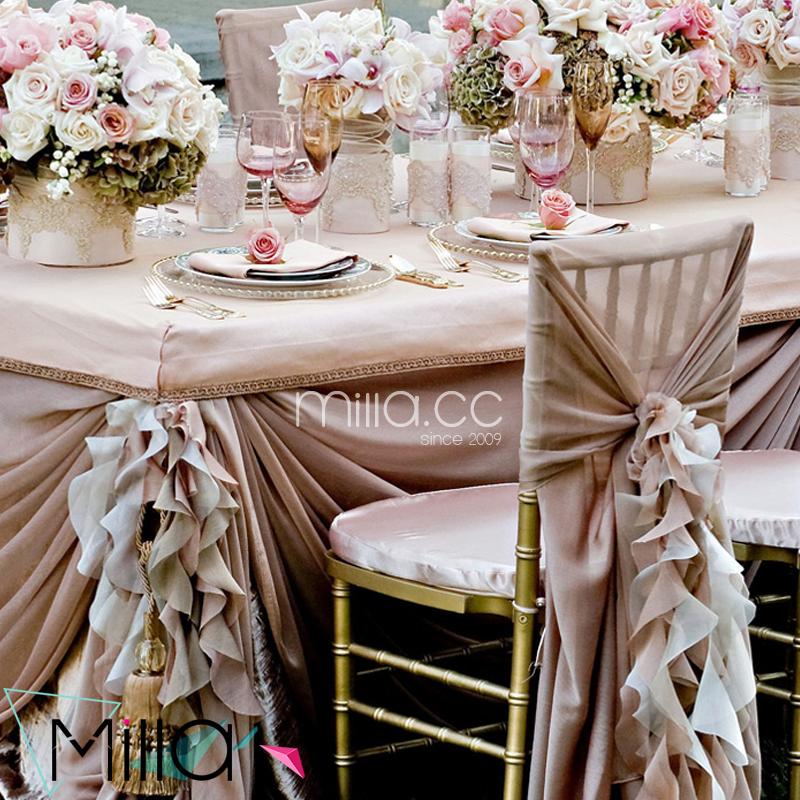 Blush Pink Chiffon Wedding Chair Sashes