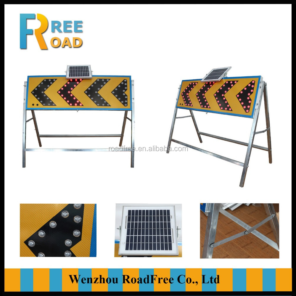 Road Safety warning LED flashing reflective arrow guide Solar power traffic signs with support