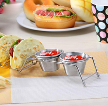 Edelstahl Taco Ablageschale durch Clasier-Exklusive Taco Stehen mit 2 Abnehmbare <span class=keywords><strong>Salsa</strong></span> Serving Cups