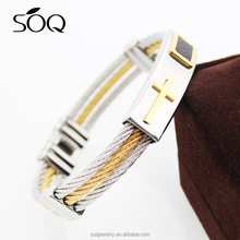 New Stainless Steel Weave Bracelet Silver 925 Cross Men Silk Wrap For Promotion Gift